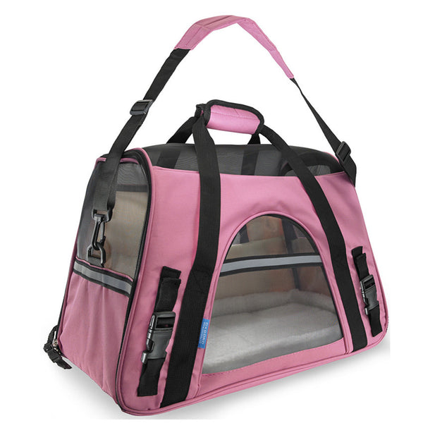 Pet Carrier Dog Car Seat Soft Sided Large Cat / Dog Comfort Travel Bag Airline Approved Black Pink-Justt Click