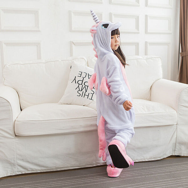 Pink Unicorn pajamas Kids Onesie Children Unicorn Costumes Pajama Party Boys Girls Animals Cosplay Flannel Loose Warm Sleepwear-Justt Click