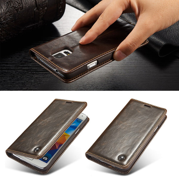 Premium Magnetic Auto Flip Original Phone Cases For Samsung Galaxy S5 i9600 Luxury-Justt Click