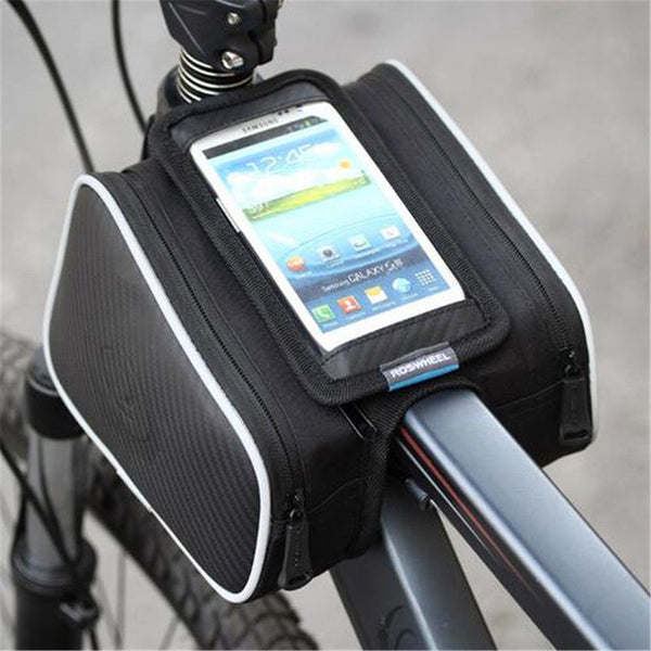 New Bicycle Front Pannier Double Bag Pouch for 5.5in / 4.8in Cellphone-Justt Click