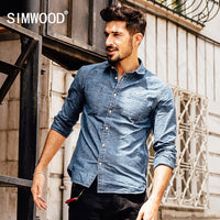 Simwood New Men's Cotton Long Sleeve Shirt-Justt Click