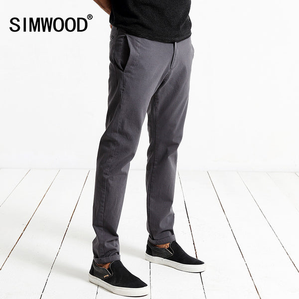 Simwood Brand Autumn Winter New Fashion 2017 Slim Straight Men Casual Pants-Justt Click