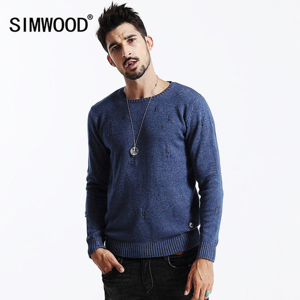 SIMWOOD brand clothing 2017 new men long sleeve cotton knitwear-Justt Click