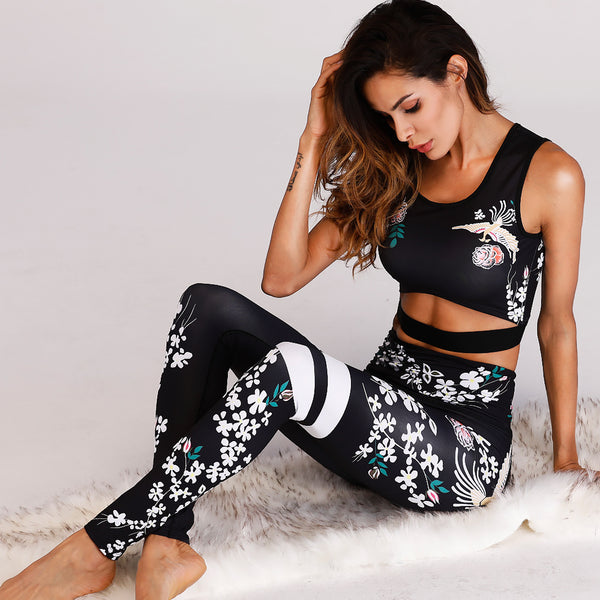 Sexy Women Yoga Set Retro Floral Printed Sports Suit Gym Fitness Clothing Tracksuit Female Running Sports Dance Tops+Leggings-Justt Click