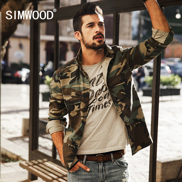 SIMWOOD 2017 New Arrival Spring Casual Camouflage Shirts Long Sleeve Men Slim Fit CS1578-Justt Click