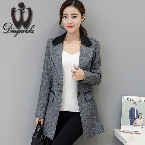 e73b6f6f2af92 Small suit Jacket female Spring autumn Slim long style Women blazers Casual  fashion Plus size Coat outerwear