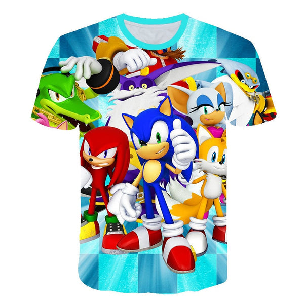 Sonic Summer T Shirt For Choldren Boys Girls 3D Cartoon Printed Short Tee T-shirt Polyester Tshirt Kids Children Clothes 4-14T