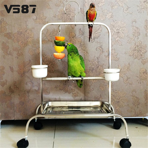 Stainless Steel Small Parrot Toy Meat Kabob Food Holder Stick Fruit Skewer Bird Treating Tool Durable Bird's cage Accessories-Justt Click