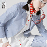 Toyouth 2017 New Arrival Cotton Casual Women Blazers Autumn Fashion Striped Button Pockets Blazers-Justt Click