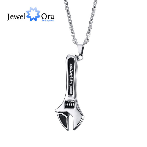 Silver Tone Spanner Pendant Necklace Boxing Chain Hip hop Mens Fashion Jewelry-Justt Click