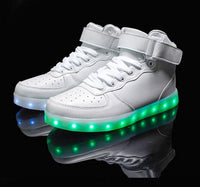 High Quality Unisex Led Shoes 8 Color Led Luminous Shoes Men Fashion High Top For Adults-Justt Click