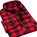 Men Plaid Shirts 2017 New Autumn Luxury Slim Long Sleeve Brand Formal Dress Warm Shirts-Justt Click