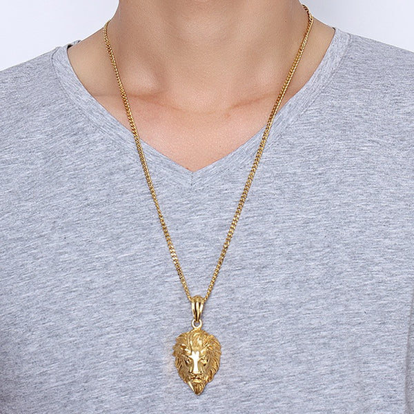 New Fashion Gold Plated Hip Hop Necklace Punk Lion Pendant Chain-Justt Click