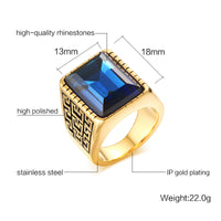 Vnox Men's Ring Gold-color Red & Blue Big Stone Rings for Men Stainless Steel Jewelry-Justt Click