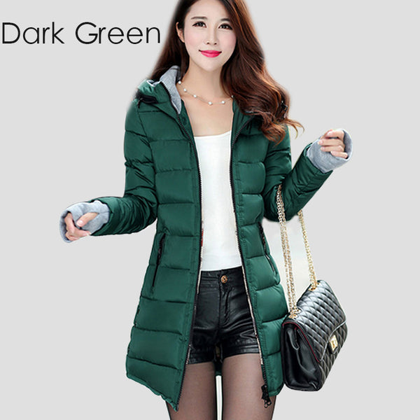 Warm Winter Jackets Women Fashion Down Cotton Parkas Casual Hooded