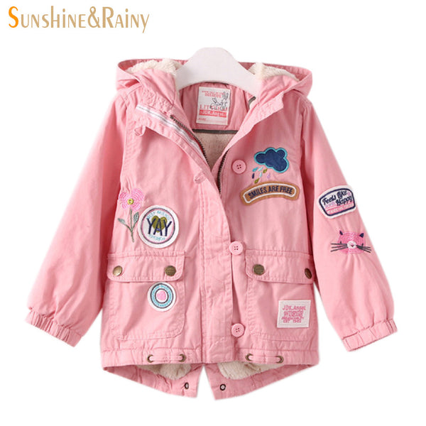 a47f222a1 Winter Designer Girls Embroidered Jacket Flower Patchwork Coat Cartoon Children's  Coats & Jackets Lamb Velvet Kids