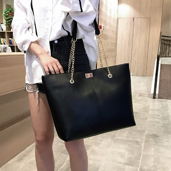 Women Leather women Handbags Female Shoulder bag designer Luxury Lady Tote Large Capacity Zipper shoulder bag-Justt Click
