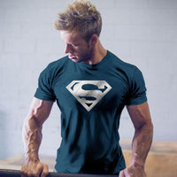 Men gloden silver Superman Workout Gym T-Shirt Bodybuilding-Justt Click