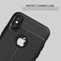 iPhone 8 Phone Case For iPhone 7 Plus Case For iPhone X Brushed Genuine Leather Soft TPU For iPhoen 6 6s SE Cover Back-Justt Click