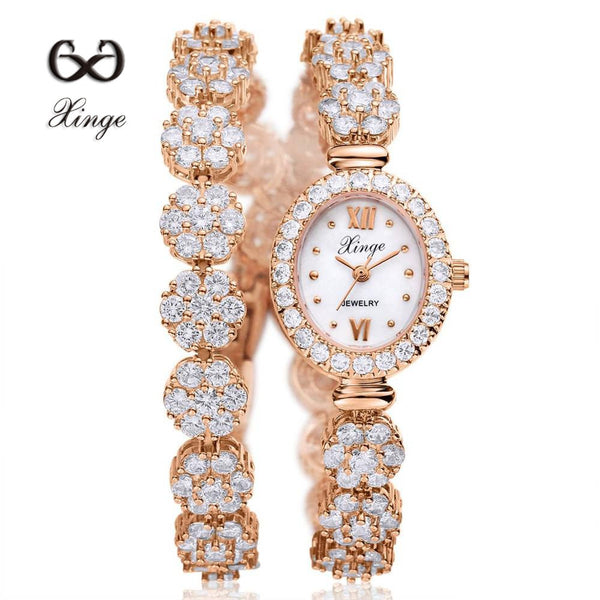 Xinge 2016 30M Waterproof Gold Natural Zircon Wrist Watch for Women Luxury Ladies Bracelet Watch Women Dress Watch XG1025-Justt Click