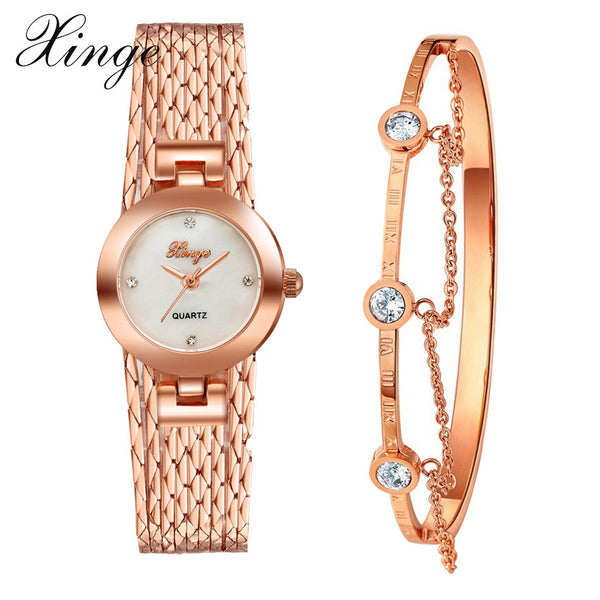 Xinge Brand Luxury Set Women New Fashion Gold Watch Crystal Watches Female Quartz Wristwatches Lady Dress Watch XG10981-Justt Click