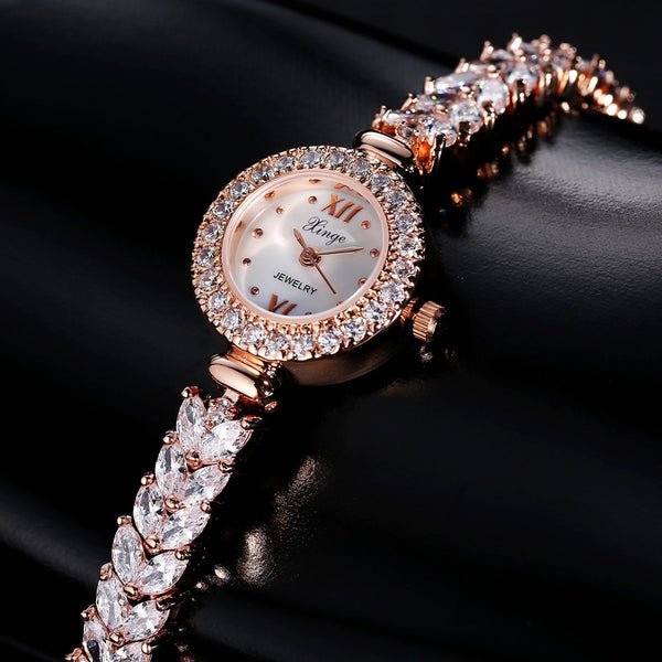 Xinge Brand Luxury Zircon Copper Bracelet Shell 30M Waterproof Rose Gold Wristwatch Women Dress Watches Fashion Ladies Watch-Justt Click