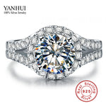 YANHUI Real 925 Sterling Silver Ring With S925 Stamp 3 Carat CZ Diamond Wedding Rings-Justt Click