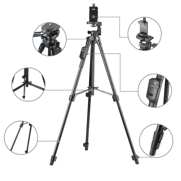 Aluminum Tripod with 3-Way Head & Bluetooth Remote + clip for Camera Phone-Justt Click