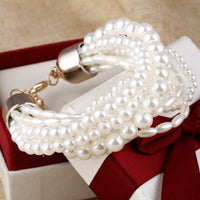 ZOSHI Fashion Accessories Simulated Pearl Multilayer Elastic Charm Bracelets Women-Justt Click