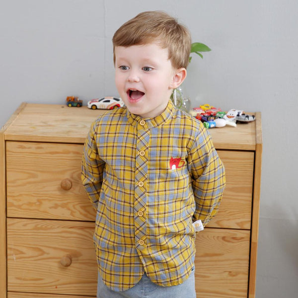 Spring NEW Toddler Kids Baby Plaid Tops Shirt Boys Long Sleeve Shirts Blouses Coat Cute children's clothes 1 2 3 4 5-Justt Click
