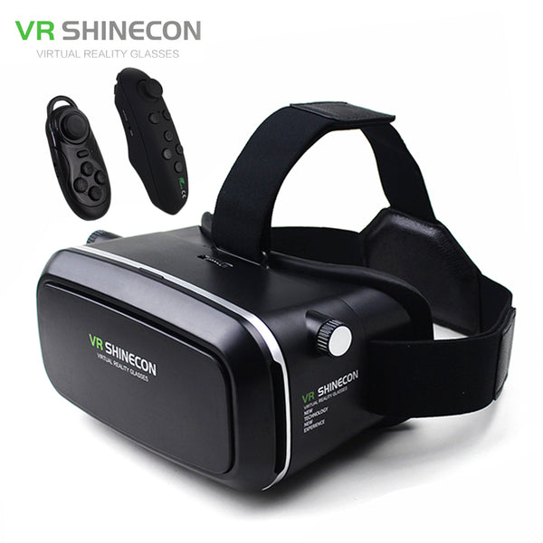 "VR Shinecon Virtual Reality 3D Glasses Helmet VR Box Cardboard for 4.7-6"" Smartphone 3D Movie Game+Bluetooth Controller/Gamepad-Justt Click"
