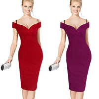 Nice-forever New Sexy Elegant Solid Stylish Casual Work Strap Slash Neck Bodycon-Justt Click