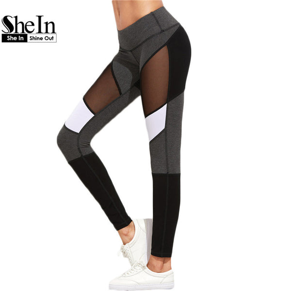 SheIn Casual Leggings Women Fitness Leggings Color Block Autumn Winter-Justt Click