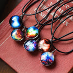 Collares Duplex Planet Crystal Stars Ball Glass Galaxy Pattern Leather Chain Pendants Necklace-Justt Click