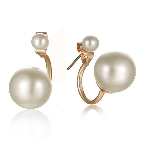 2017 Fashionable Double Pearl Earrings Double Sided Wear Pearl  Earrings Gift Wholesale - Justt Click