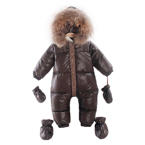2018 winter natural fur rompers baby boy clothes newborn down jumpsuit infant thick warm outerwear girls snowsuits-Justt Click