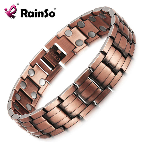 RainSo Red Copper Magnetic Bracelet for Men Women 2 Row Magnet-Justt Click