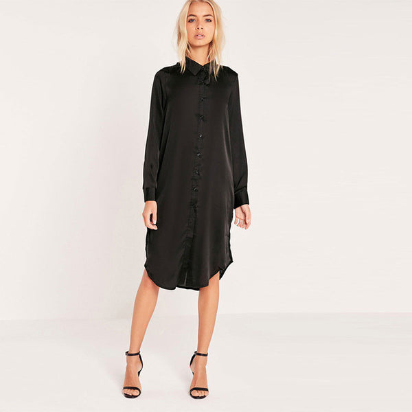 HDY Haoduoyi Black Women Dress Long Sleeve Turn-down Collar Split Side Straigh Dress-Justt Click