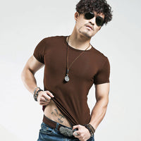 Men's Tops Tees 2017 summer new cotton v neck short sleeve-Justt Click