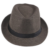 Fashion Summer Straw Women's Sun Hats Fedora Trilby Gangster Cap Summer Beach Sun Straw Panama Hat with Ribbow Band Sunhat-Justt Click
