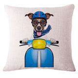 Fashion Cute Dog Cotton Linen Decorative Pillow Case Chair Waist Seat Square 45x45cm Pillow Cover Home Garden Textile - Justt Click