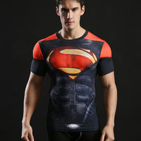 Superhero Tops Men Compression Bodybuilding T shirts Muscle Fitness Streetwear-Justt Click