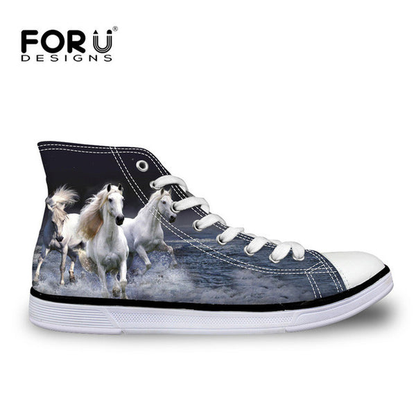 Fashion Mens Casual Shoes 3D Animals Wolf High Top Shoes,Pet Dog Husky Printed Flats-Justt Click