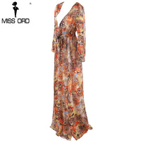 Missord 2017 Sexy Deep-V Long Sleeve two split belt mutli color dress maxi-Justt Click