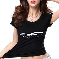 New Women T shirt Batman Print Funny Casual Tops Basic Bottoming Short Sleeve-Justt Click