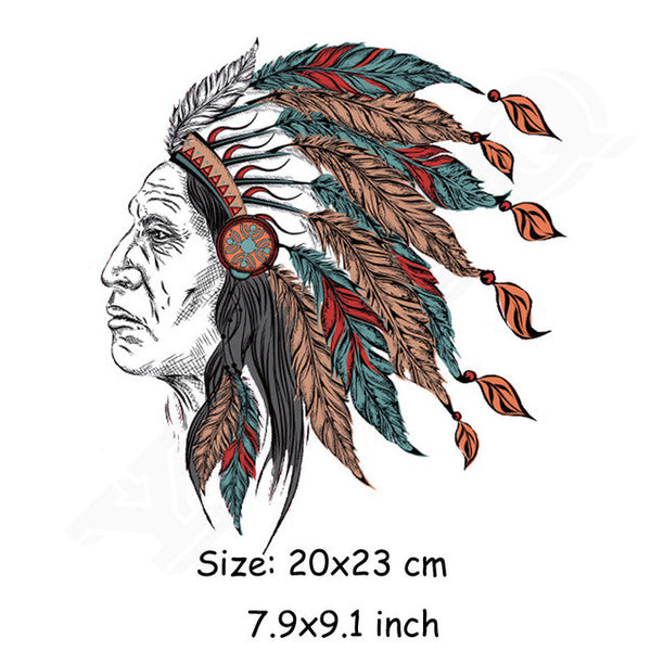 New DIY Jeans Pyrography 20*23cm Skull Indians Patches For Clothing Heat Press-Justt Click