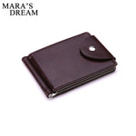 Mara's Dream Brand Mini Men's leather Money Clip wallet Pocket Purse with clamp Man Slim Credit Card Bag ID Holder for male-Justt Click