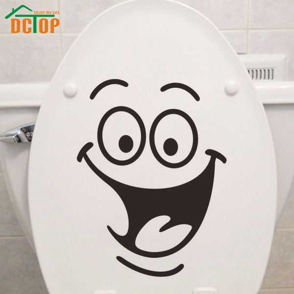Emoticons Stickers Funny Toilet Sticker Vinyl Creative Wall Decals Happy Face Wall Stickers - Justt Click