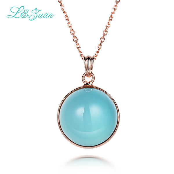 l&zuan 925 Sterling Silver Natural Chalcedony Blue Stone Round Necklace & Pendant-Justt Click
