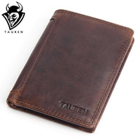 Vintage Designer 100% Genuine Carteiras Masculinas Cowhide Leather Men Short Wallet Purse Card Holder Coin Pocket Male Wallets-Justt Click